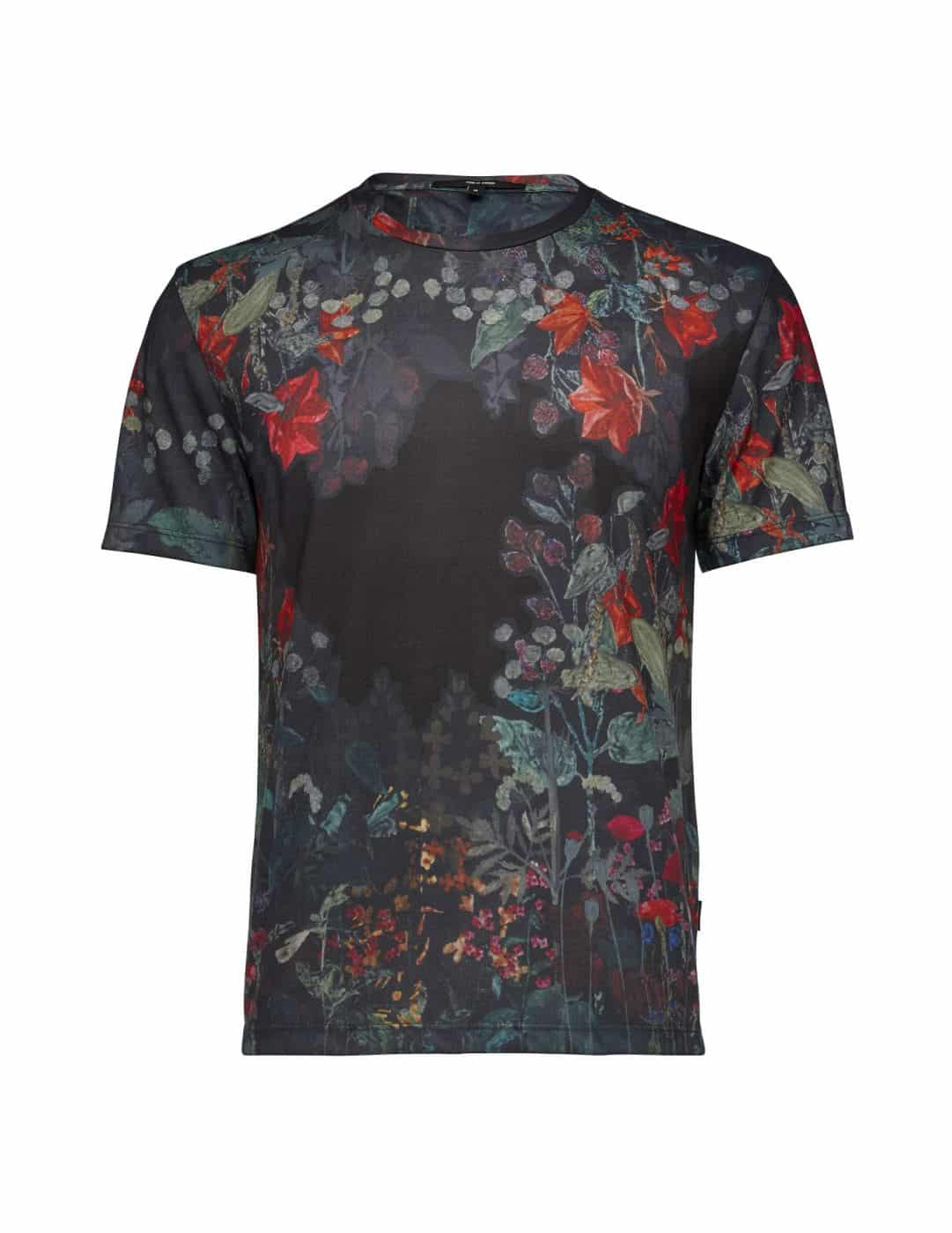 Tiger of sweden kretin black flower print t shirt for Black floral print shirt