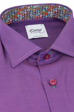 3675d700455 OSCAR OF SWEDEN PURPLE SHIRT WITH CONTRAST TRIM