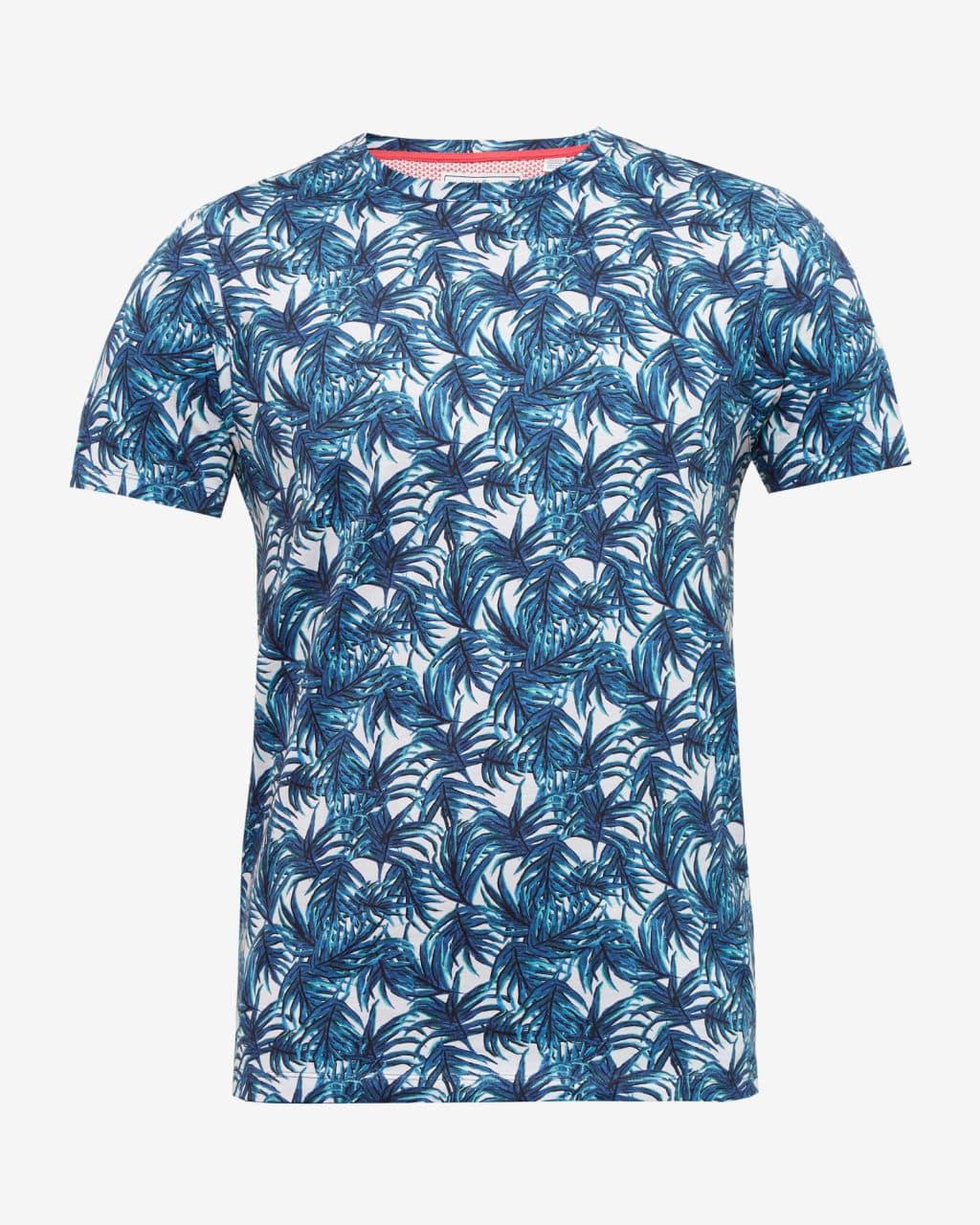 Ted baker blue retro leaf print t shirt for Vintage t shirt printing
