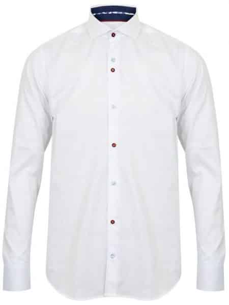 GUIDE LONDON SLIM FIT WHITE COTTON JACQUARD SHIRT WITH MULT ...
