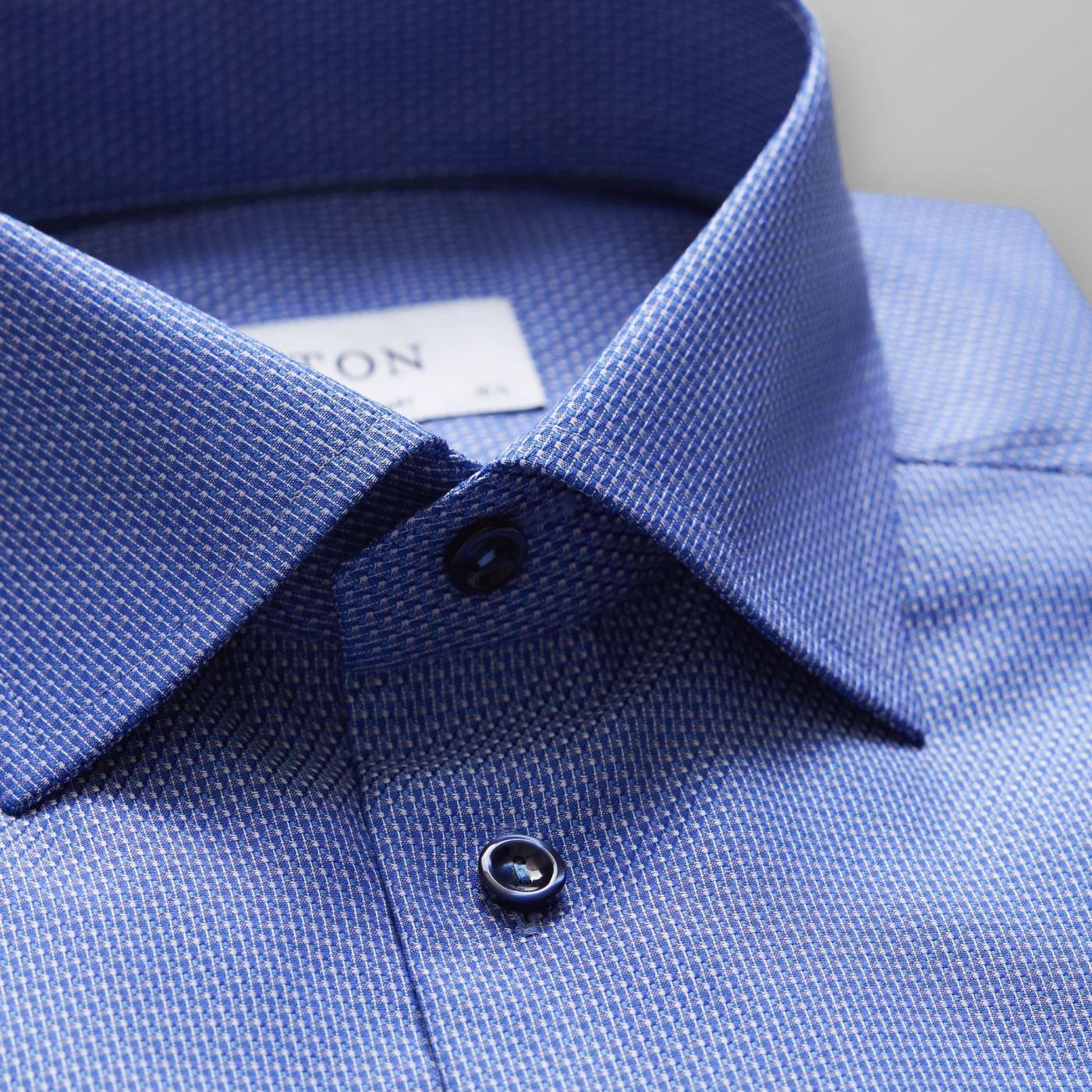 ETON BLUE TWILL BLUE BUTTONS SHIRT