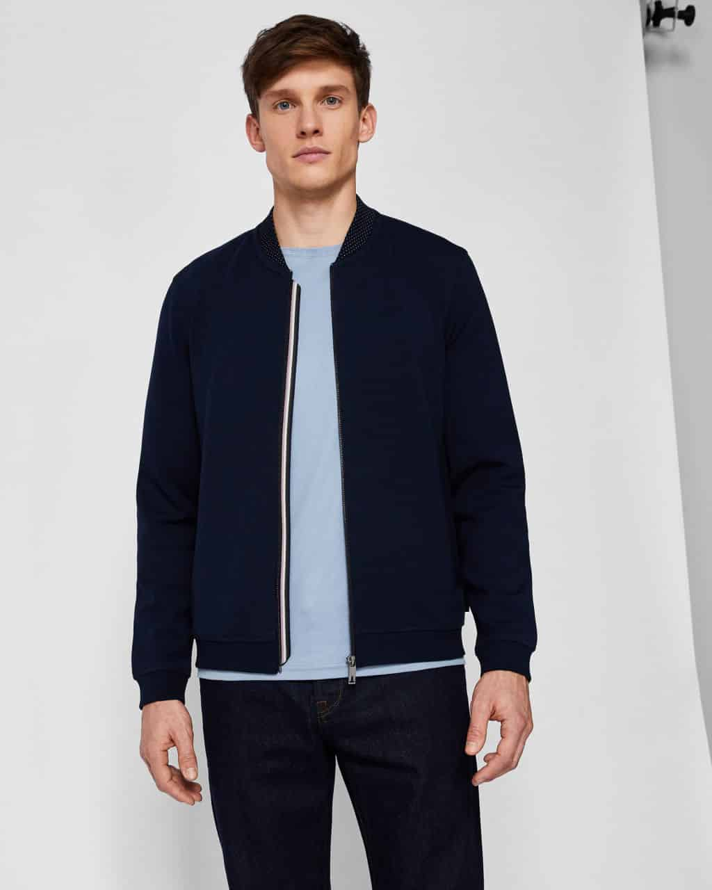 5b638b70a8aee8 TED BAKER LONDON WOLF NAVY BONDED JERSEY BOMBER JACKET