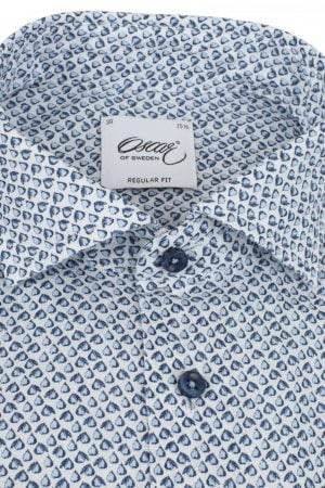 f71c1707f21 OSCAR OF SWEDEN LTD EDT WHITE PEAR PRINT LINEN SHIRT