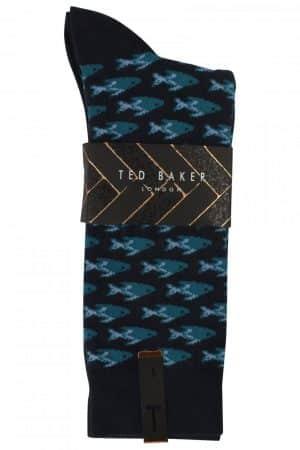 80b0111324c TED BAKER LONDON FIOFRO NAVY FISH PRINT SOCK