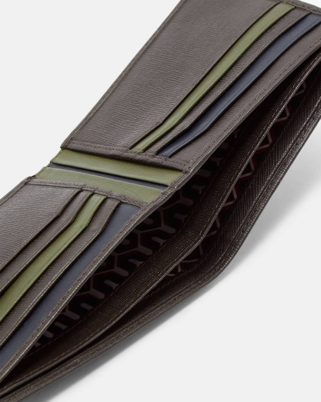 4f986fedfb0 TED BAKER LONDON MUSTA CHOCOLATE BROWN STRIPED LEATHER BIFOLD WALLET