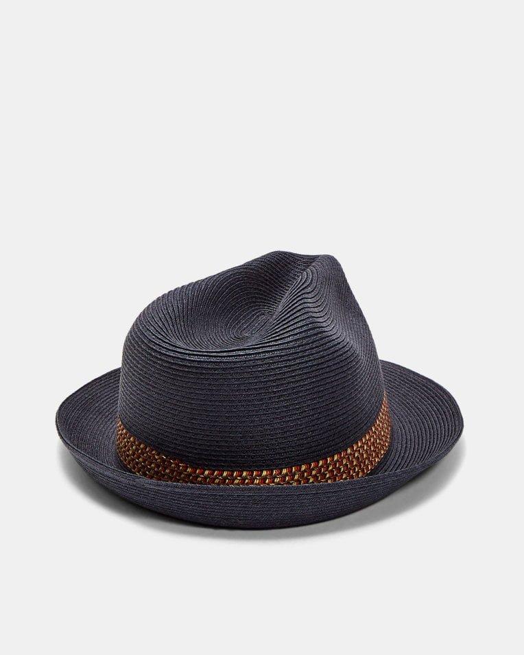 52b84a8ba3043 TED BAKER LONDON LEMONY NAVY STRAW TRILBY HAT