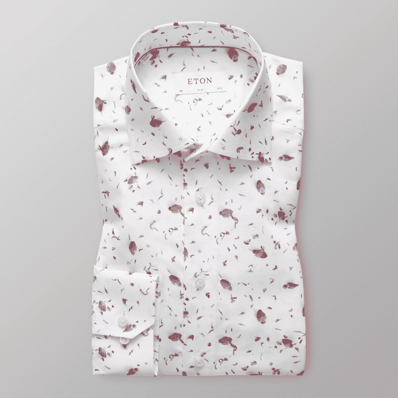 ETON LIMITED EDITION WHITE SHIRT WITH FLORAL ROSE BUD PRINT
