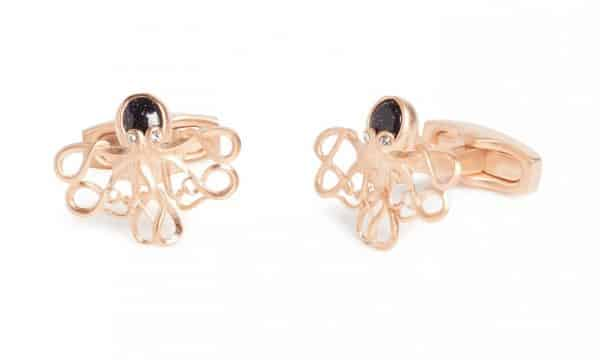 Simon Carter Darwin Octopus In Rose Gold And Blue Goldstone Cufflink 1